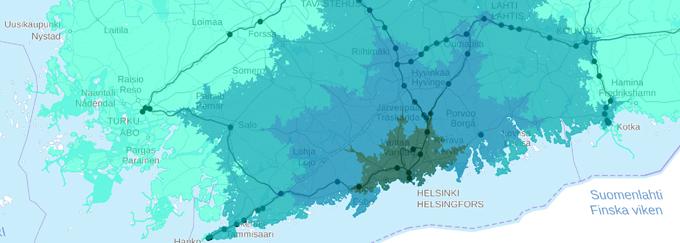 Saavutettavuusanalyysin avulla tehty kartta esimerkkkinä työkalun käytöstä.