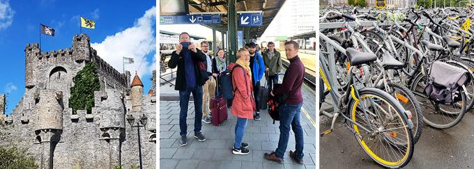 Linealaiset Gentissä, Gentin linna, juna-asema, polkupyöriä